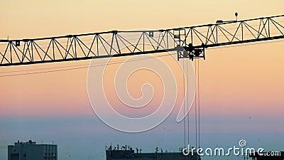 промышленно Строительная площадка Поднимать краны работая силуэт Красивейшее небо видеоматериал