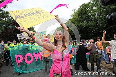 Протесты Balcombe Fracking Редакционное Изображение