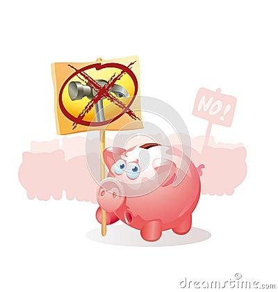 протест свиней монетки коробок