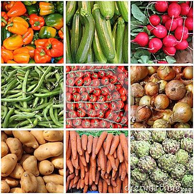 新鲜蔬菜背景拼贴画