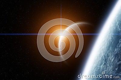 行星地球和月亮与日出