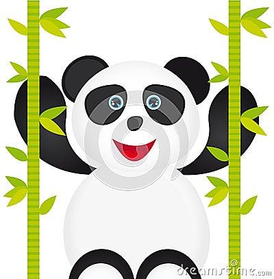 与竹子的空白和黑色熊猫动画片查出在空白背景