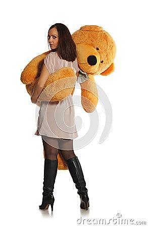 熊美丽的女孩玩具 库存图片