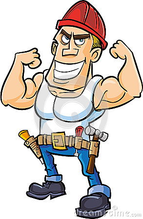 Работник шаржа изгибая его мышцы