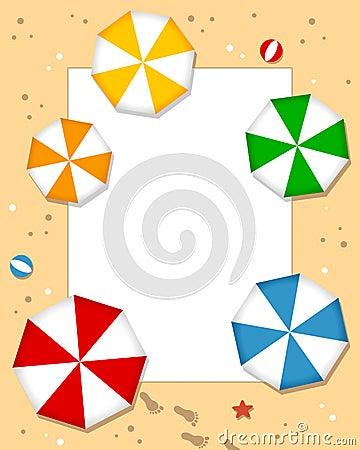 Рамка фото зонтиков пляжа