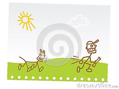 ребенок рисуя смешную руку