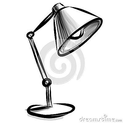 Tischlampe gezeichnet  Регулируемая изолированная настольная лампа на белизне Стоковая ...