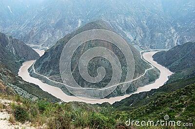 река jinshajiang загиба