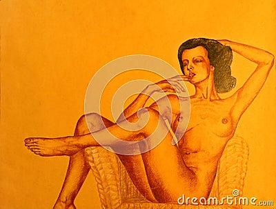 рисуя нагая представляя женщина