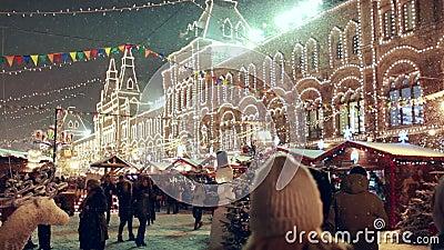 Рождество справедливое на красной площади в Москве, КАМЕДИ на предпосылке акции видеоматериалы