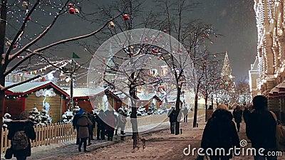 Рождество справедливое на красной площади в Москве, России сток-видео