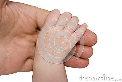 родитель руки младенца рукоятки