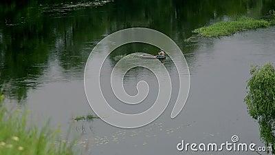 Рыбная ловля человека в шлюпке видеоматериал