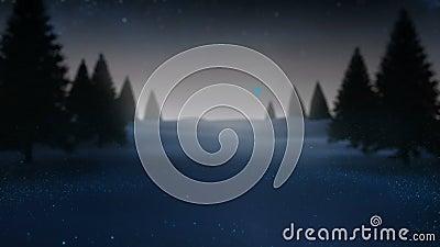 Рэй света спирально двигая вокруг снежный ландшафт видеоматериал