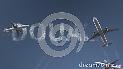 Самолеты летания показывают титр Douala Путешествовать к анимации вступления Камеруна схематической сток-видео