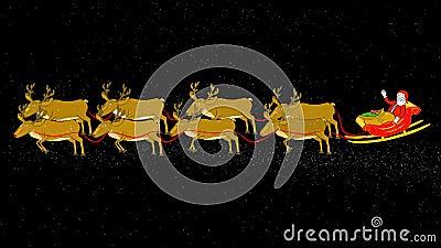 Санта, сани, муха северного оленя & Стоп-прозрачное/альфа сток-видео