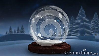 Сверкная свет спирально двигая вокруг глобуса снега видеоматериал