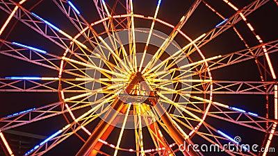 Света колеса Ferris на ноче видеоматериал