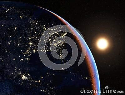 Северная Америка на ноче 4K иллюстрация штока