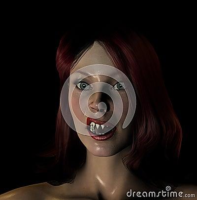 Сексуальный красный с волосами Vamp