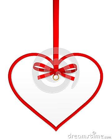 Сердце с красным смычком