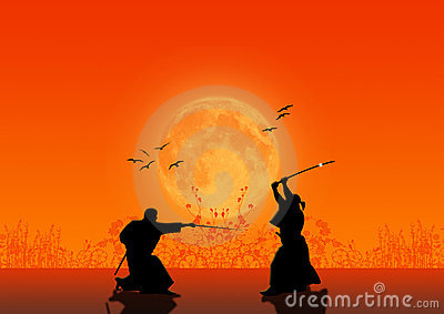 силуэты самураев