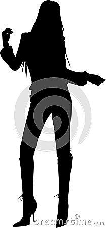 силуэт девушки танцы
