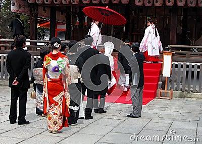 синтоистское венчание Редакционное Стоковое Изображение