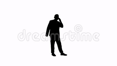 Силуэт отснятого видеоматериала человека с телефоном сток-видео