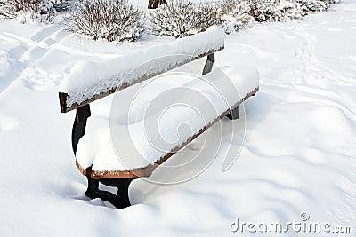 Скамейка в парке в снежке