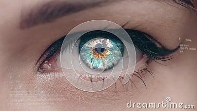 Смесь цифров моргать глаза с интерфейсом техника сток-видео