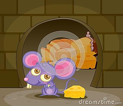 Иллюстрация смешной мыши с сыром