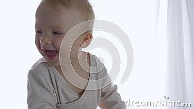 Смеясь красивый малыш имея потеху ехать на игрушке equine внутри помещения видеоматериал