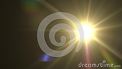 Солнце и цифровые объективы вспыхивают в космосе Светящийся свет объектива над черным фоном Простота добавления наложения или экр сток-видео