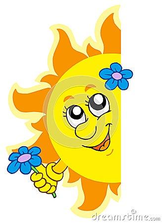 солнце цветка скрываясь