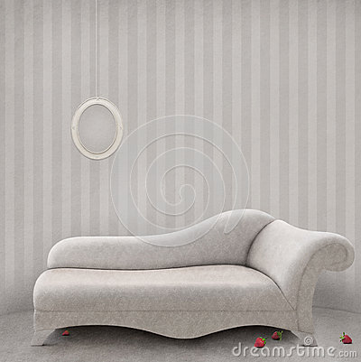 Софа в белой комнате.