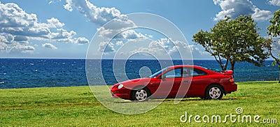 спорт красного цвета автомобиля
