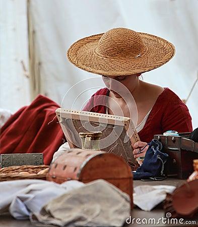 Средневековая дама Редакционное Фото