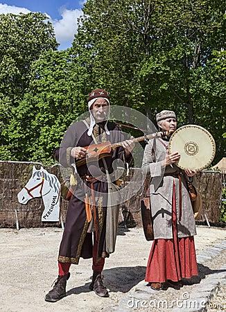 Средневековые трубадуры Редакционное Изображение