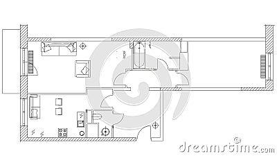 Стандартный домашний набор символов используемый в планах архитектуры, домашний планируя набор мебели значка, элементы графическо сток-видео