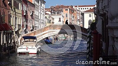Старик идет по мосту Венеция сток-видео