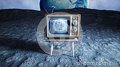 Старое деревянное ТВ года сбора винограда на луне Предпосылка земли Концепция космоса передатчиков иллюстрация штока