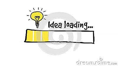 Статусная строка с электрической лампочкой, большая идея загрузки, концепция нововведения, петля HD безшовная