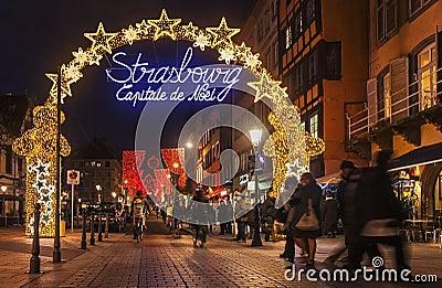 Столица рождества Страсбурга Редакционное Изображение