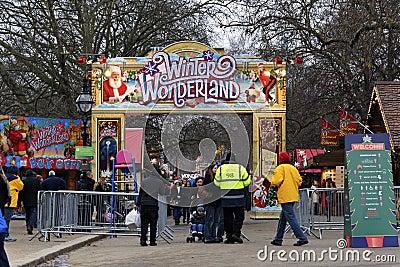 Страна чудес зимы в Гайд-парке, Лондоне Редакционное Изображение
