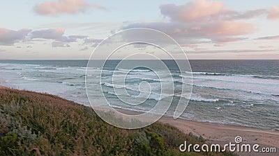 Сцена захода солнца пляжа Австралии, полуостров Mornington акции видеоматериалы