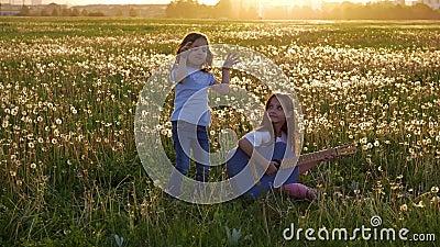 Счастливые дни весеннего времени 2 смешных привлекательных маленьких сестры поя и играя акустическую гитару джинсов в луге девушк сток-видео