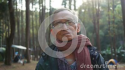 Счастливый дед из Азии ходит в поход с внуками в сосновый лес в холодный сезон видеоматериал