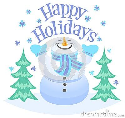 Счастливый снеговик праздников