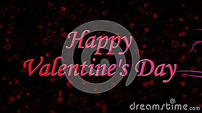 Счастливый текст дня валентинки сформированный от пыли и поворотов для того чтобы запылиться горизонтально на темной предпосылке видеоматериал